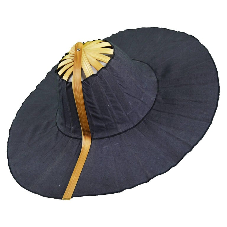 Heather Allan Architectural Folding Wood and Cotton Fan Sun Hat, 1990s For Sale
