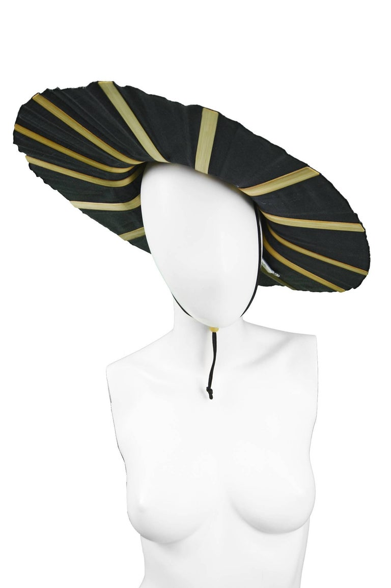 Women's Heather Allan Architectural Folding Wood and Cotton Fan Sun Hat, 1990s For Sale