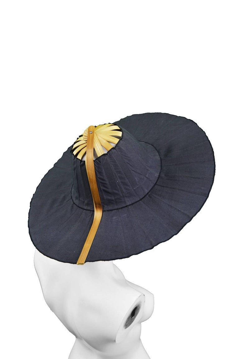 Heather Allan Architectural Folding Wood and Cotton Fan Sun Hat, 1990s For Sale 2
