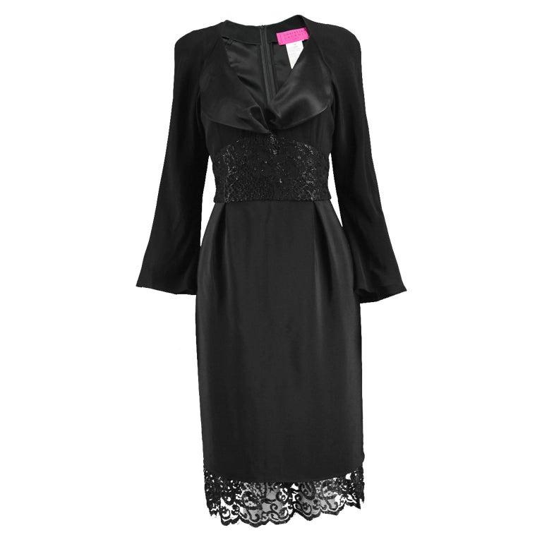 Christian Lacroix Vintage Black Lace and Satin Back Crepe Dress, 1990s