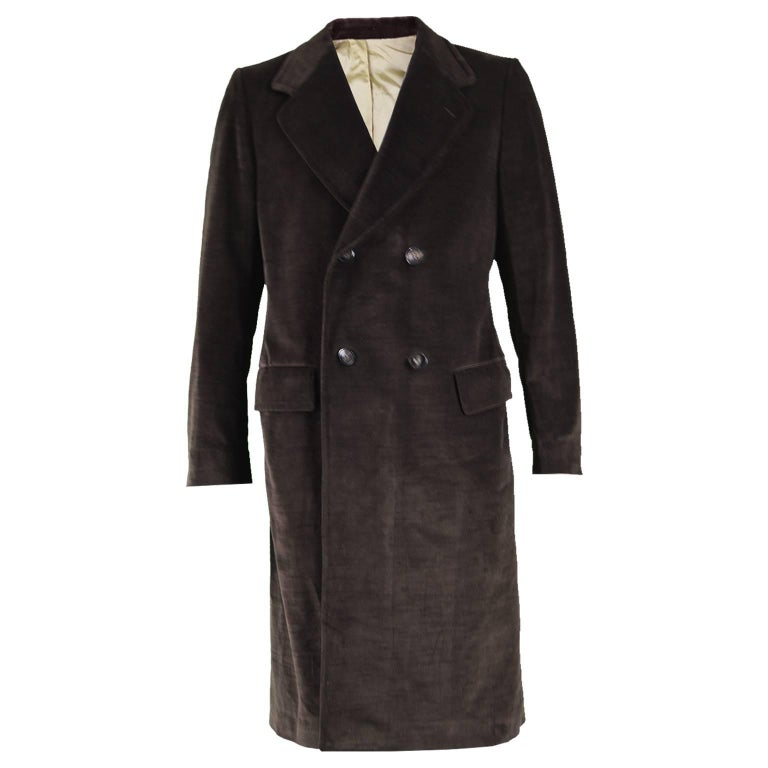 Ted Lapidus Men's Vintage Brown Double Breasted Velvet Trench Coat, 1970s