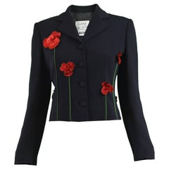 Moschino Vintage Womens Tailored Crepe Blazer Jacket with Poppy Appliques, 1990s