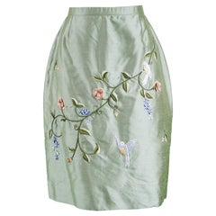 Bellville Sassoon Asian Embroidered and Beaded Green Pure Silk Skirt, 1980s