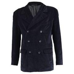 La Rocka Men's Vintage Double Breasted Black Velvet Blazer Jacket, 1990s
