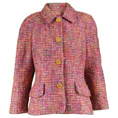 Guy Laroche Vintage Pink Wool, Mohair & Lurex Bouclé Tweed, 1990s