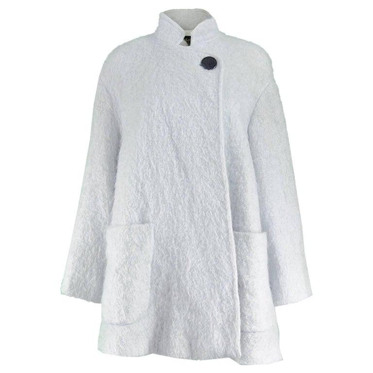 Guy Laroche Boutique Vintage Pale Blue Mohair Wool Swing Coat, 1980s