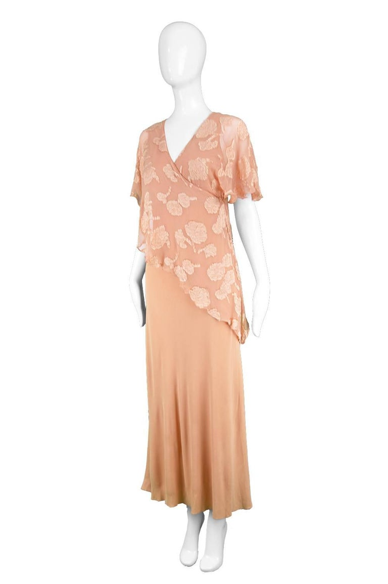 Janice Wainwright Peach Devore Chiffon & Jersey Asymmetric Maxi Dress, 1970s In Good Condition For Sale In Doncaster, South Yorkshire