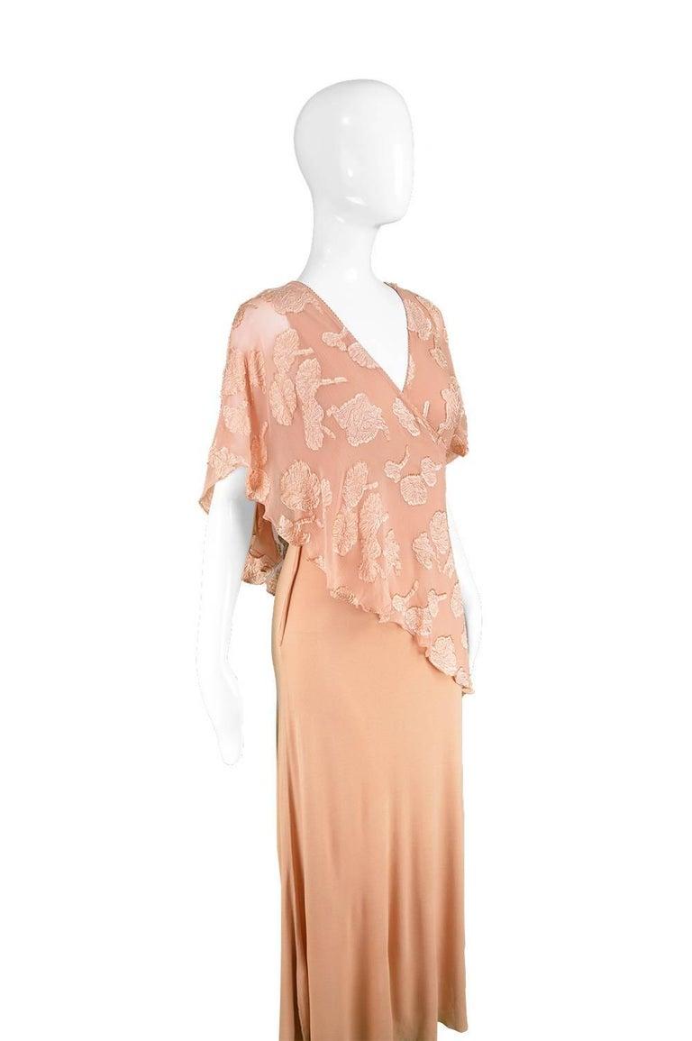 Beige Janice Wainwright Peach Devore Chiffon & Jersey Asymmetric Maxi Dress, 1970s For Sale