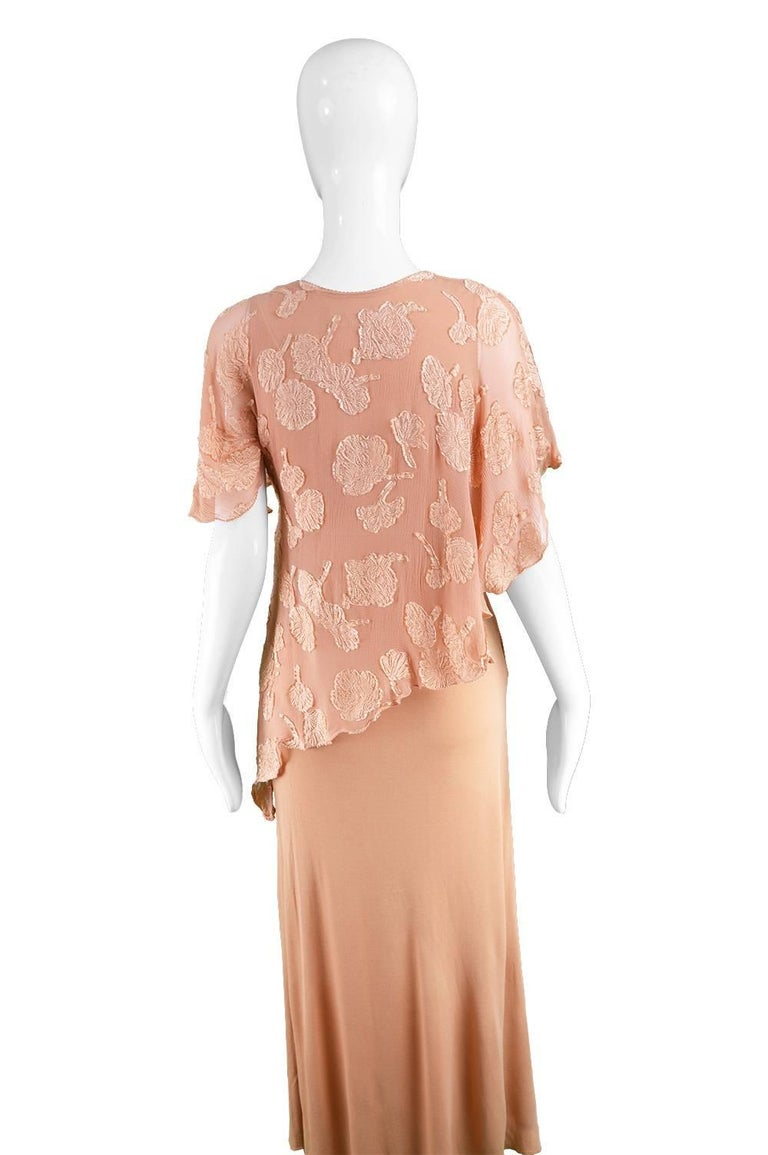 Janice Wainwright Peach Devore Chiffon & Jersey Asymmetric Maxi Dress, 1970s For Sale 1