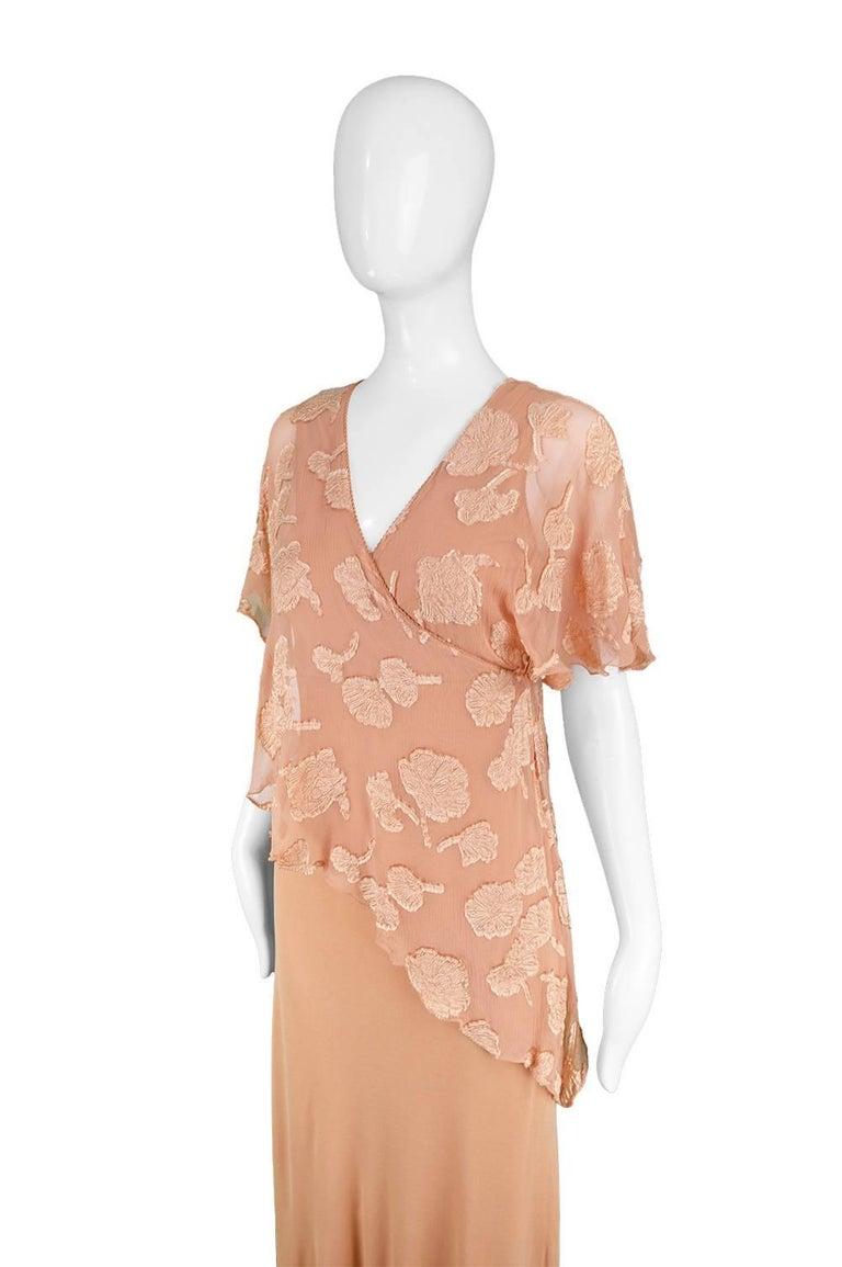 Women's Janice Wainwright Peach Devore Chiffon & Jersey Asymmetric Maxi Dress, 1970s For Sale