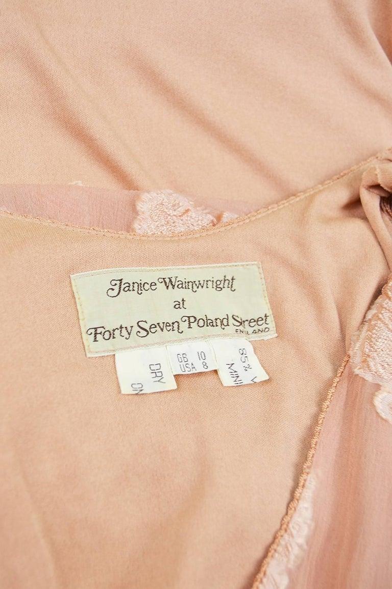 Janice Wainwright Peach Devore Chiffon & Jersey Asymmetric Maxi Dress, 1970s For Sale 3