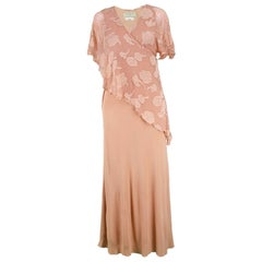 Janice Wainwright Peach Devore Chiffon & Jersey Asymmetric Maxi Dress, 1970s