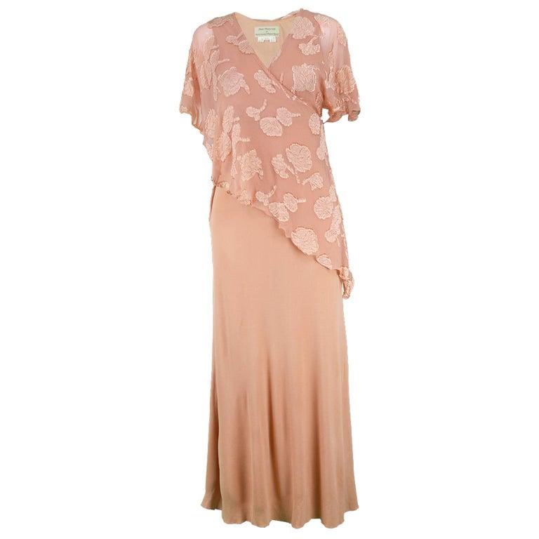 Janice Wainwright Peach Devore Chiffon & Jersey Asymmetric Maxi Dress, 1970s