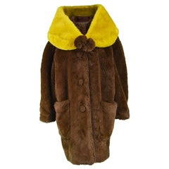 Jean Paul Gaultier Dramatic Brown Faux Fur Swing Coat with Wrap Stole, 1980s