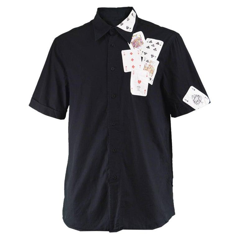 Moschino Men's Black Cotton Playing Card Short Sleeve Shirt, 1990s