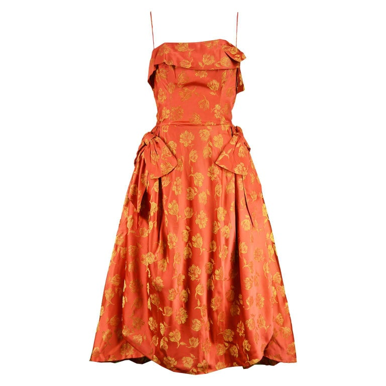 John Selby 1950s Vintage Red & Gold Brocade Jacquard Panelled Dress
