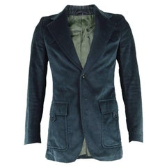 Ted Lapidus Men's Vintage Dark Teal Velvet Wide Lapels Blazer Jacket, 1970s