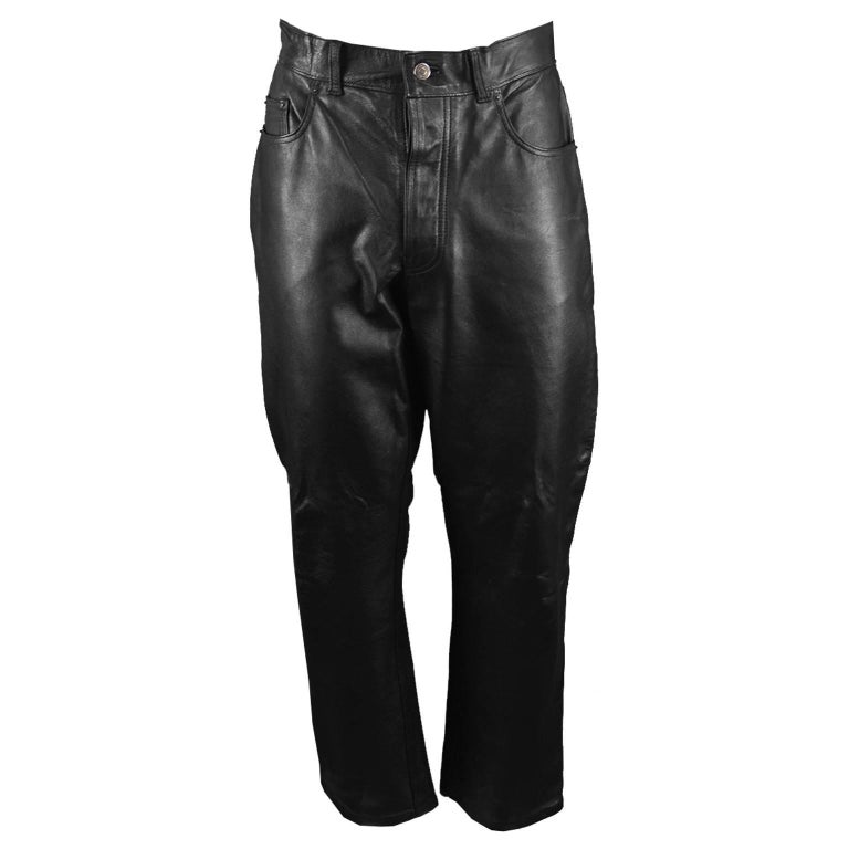 Paul Smith Men's Vintage Black Real Leather Straight Leg Pants, 1990s