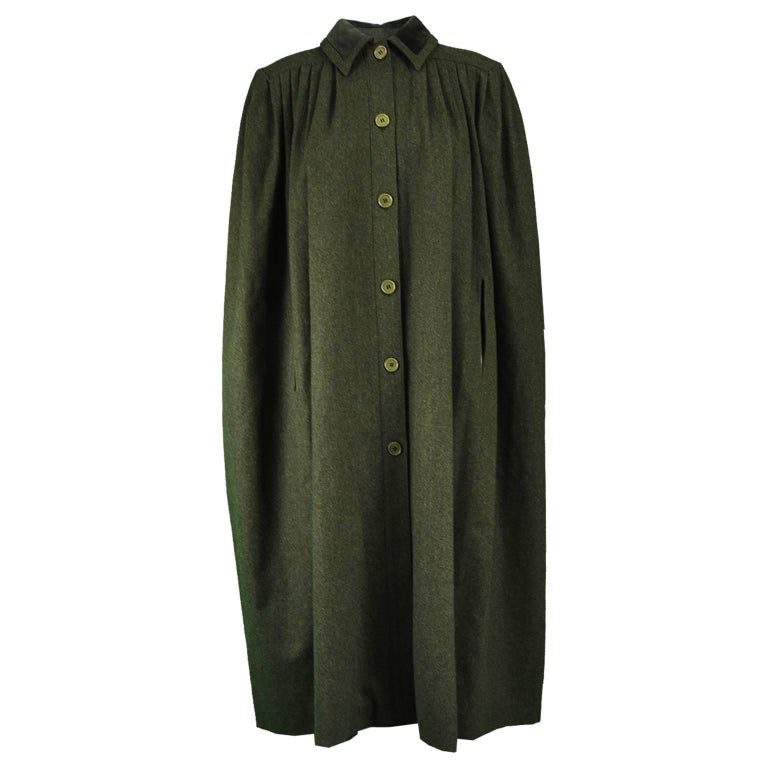Valentino Dark Green Vintage Wool and Velvet Pleated Maxi Cape, 1980s