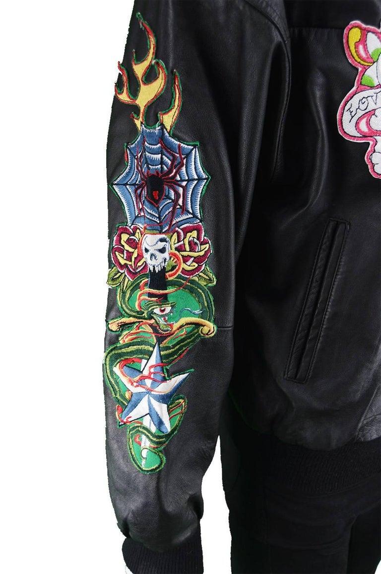 Avirex Men S Vintage Embroidered Black Leather A 2 Bomber