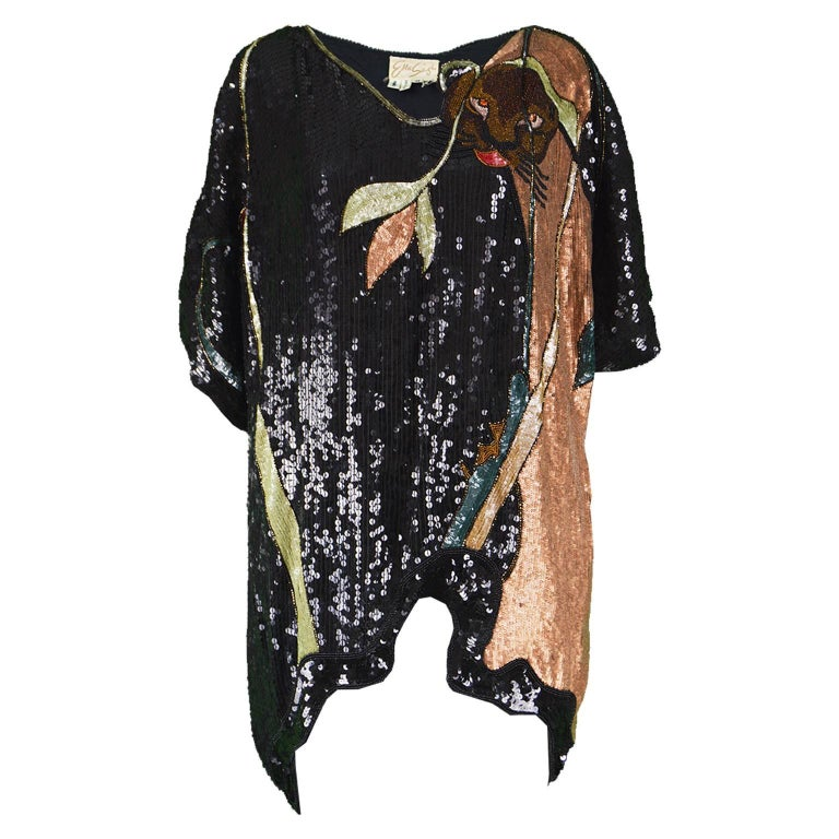 Ella Singh Rare Beaded & Sequin Black Silk Animal Vintage Tunic Top, 1980s