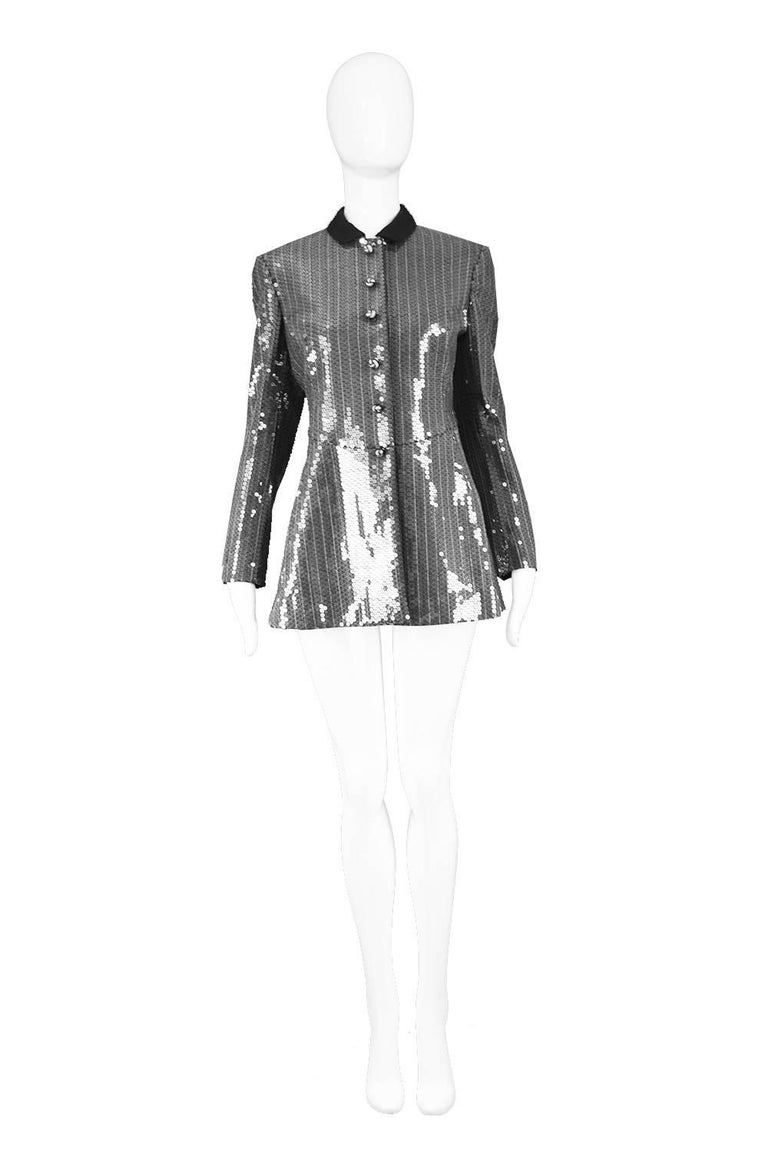 "Moschino Couture Clear / Silver Sequinned Striped Tailored Military Jacket  Size: Marked GB 10 / US 8 / I 42 / D 38 Bust - 34"" / 96cm Waist - 30"" / 76cm Hips - 38"" / 96cm Length (Shoulder to Hem) - 27"" / 68cm Shoulder to Shoulder - 16"" / 40cm Sleeve"