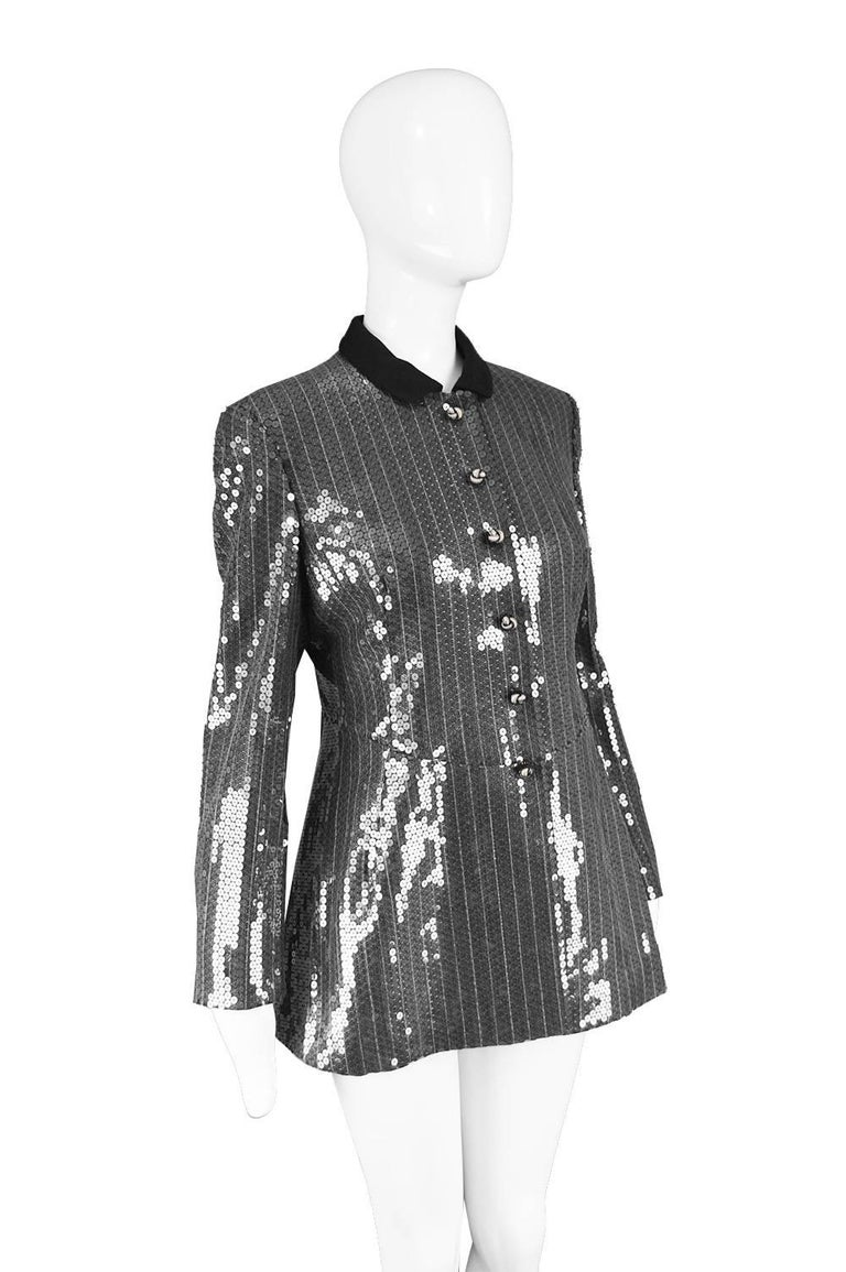 Moschino Couture Clear Silver Sequin Striped Tailored Military Jacket For Sale 1