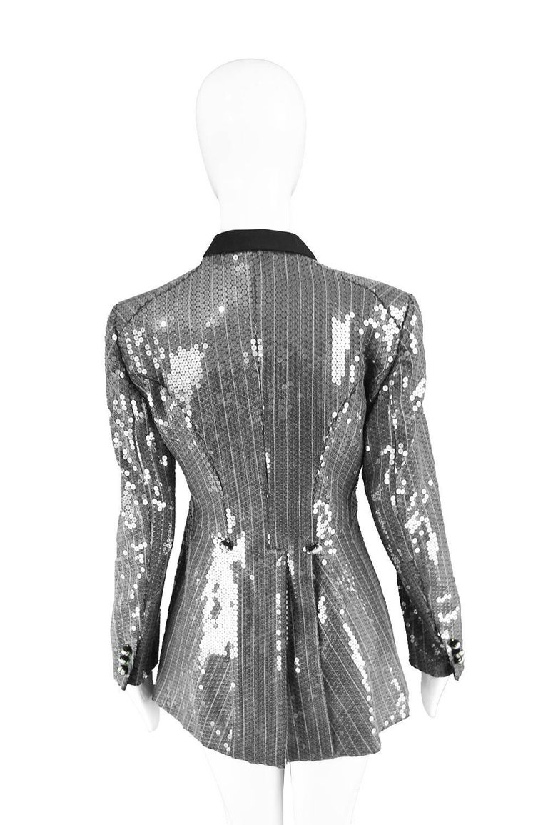 Moschino Couture Clear Silver Sequin Striped Tailored Military Jacket For Sale 3