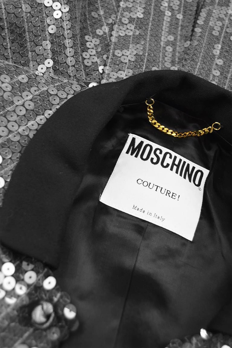 Moschino Couture Clear Silver Sequin Striped Tailored Military Jacket For Sale 4