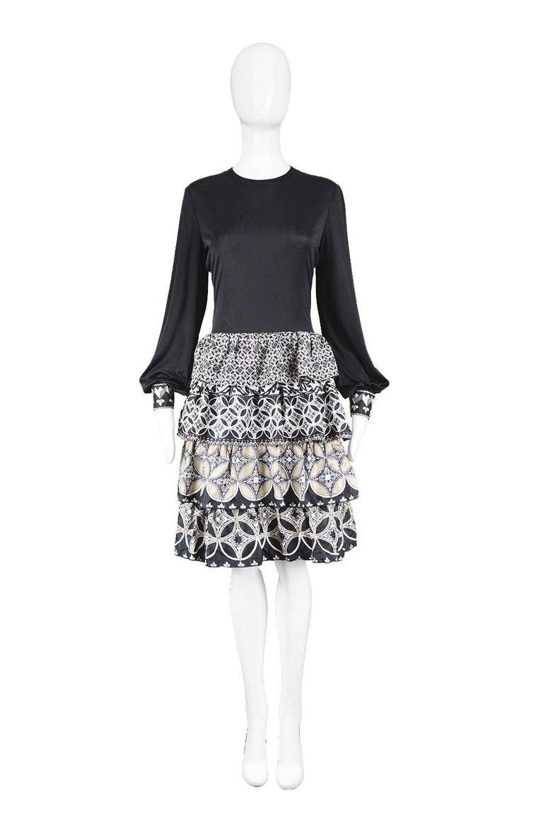 "J Tiktiner for Harrods French Couture Vintage Silk Ruffle & Black Jersey Dress  Estimated Size: UK 12/ US 8/ EU 40. Please check measurements. Bust - 36"" / 91cm Waist - 30"" / 76cm Hips - 40"" / 101cm Length (Shoulder to Hem) - 38"" / 96cm Shoulder to"