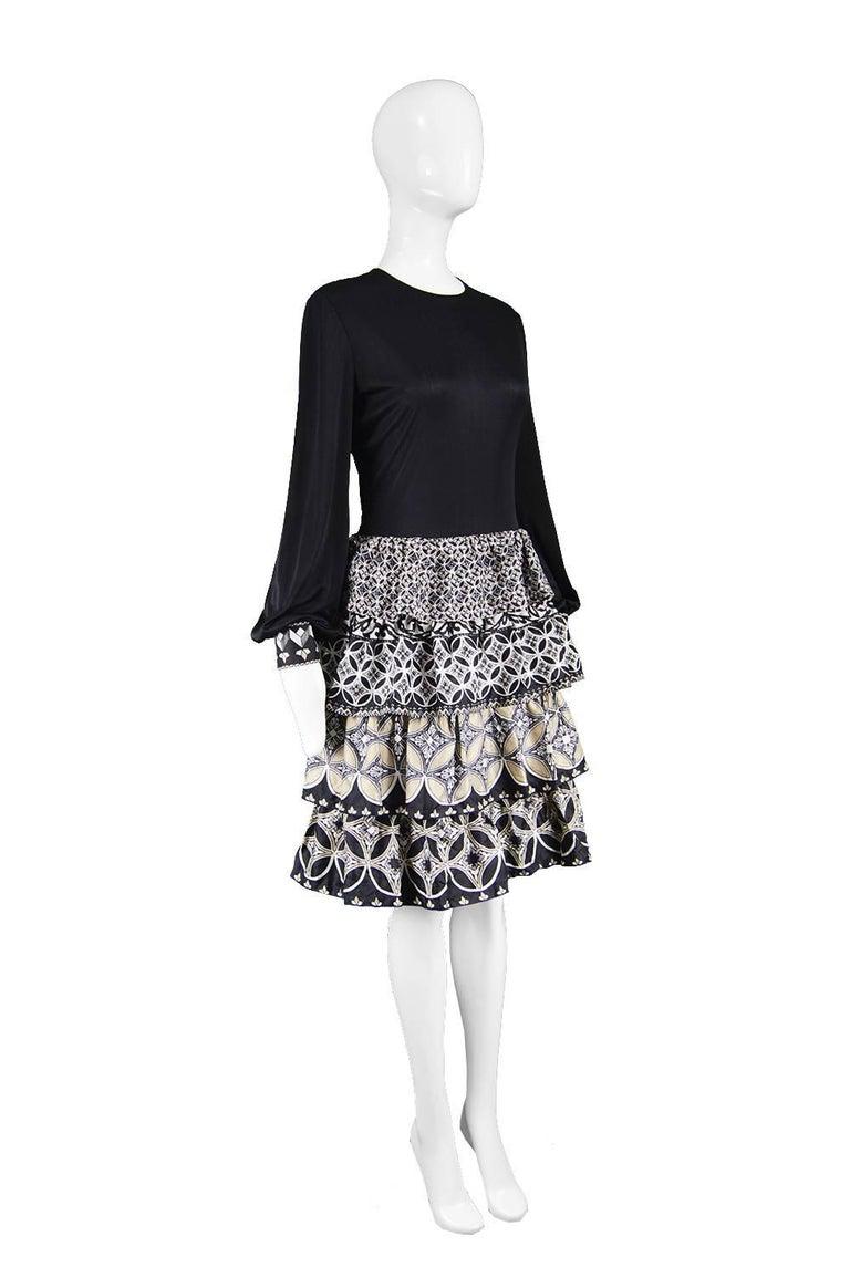 J Tiktiner for Harrods Vintage Silk Ruffle & Black Jersey Dress, 1970s For Sale 1