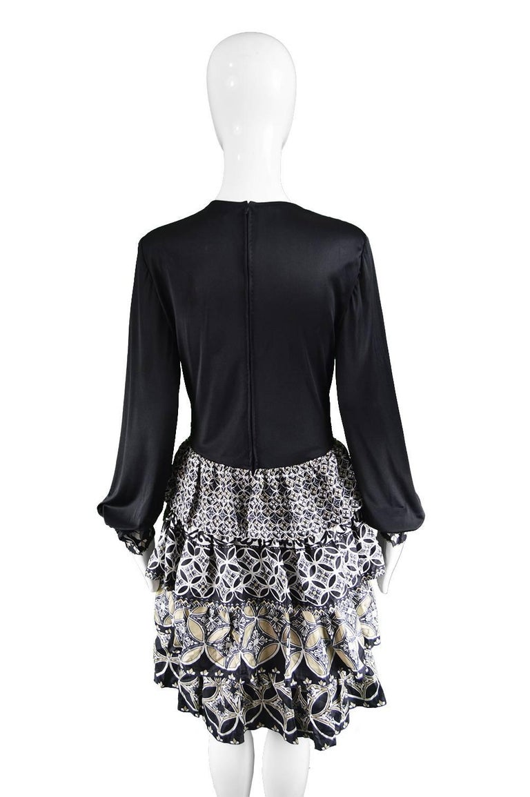 J Tiktiner for Harrods Vintage Silk Ruffle & Black Jersey Dress, 1970s For Sale 2