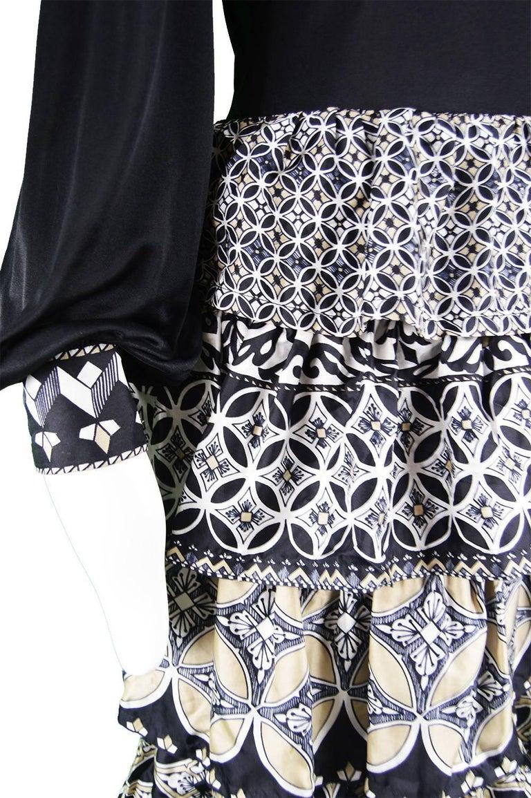 Women's J Tiktiner for Harrods Vintage Silk Ruffle & Black Jersey Dress, 1970s For Sale