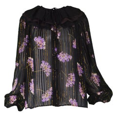 Valentino Silk and Lamé Chiffon Sheer Floral Ruffle Collar Vintage Blouse, 1980s