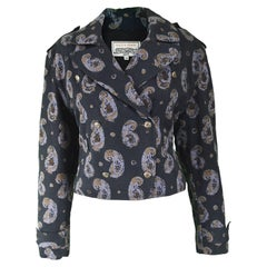 Krizia Vintage Paisley Printed Black Cotton Biker Jacket, 1990s