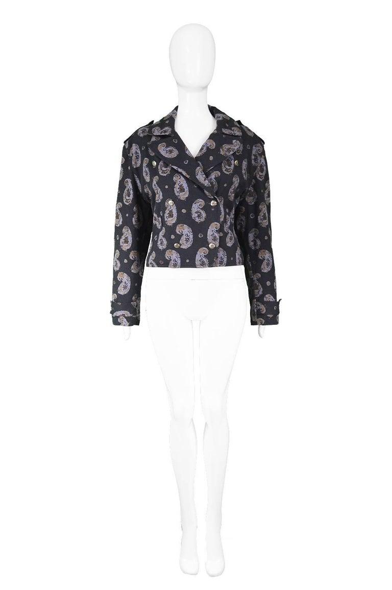 """Krizia Vintage Paisley Printed Black Cotton Biker Jacket, 1990s   Estimated Size: UK 14/ US 10/ EU 42. Please check measurements. Bust - 40"""" / 101cm (allow a couple of inches room for movement) Waist - 34"""" / 86cm Length (Shoulder to Hem) - 19"""" /"""