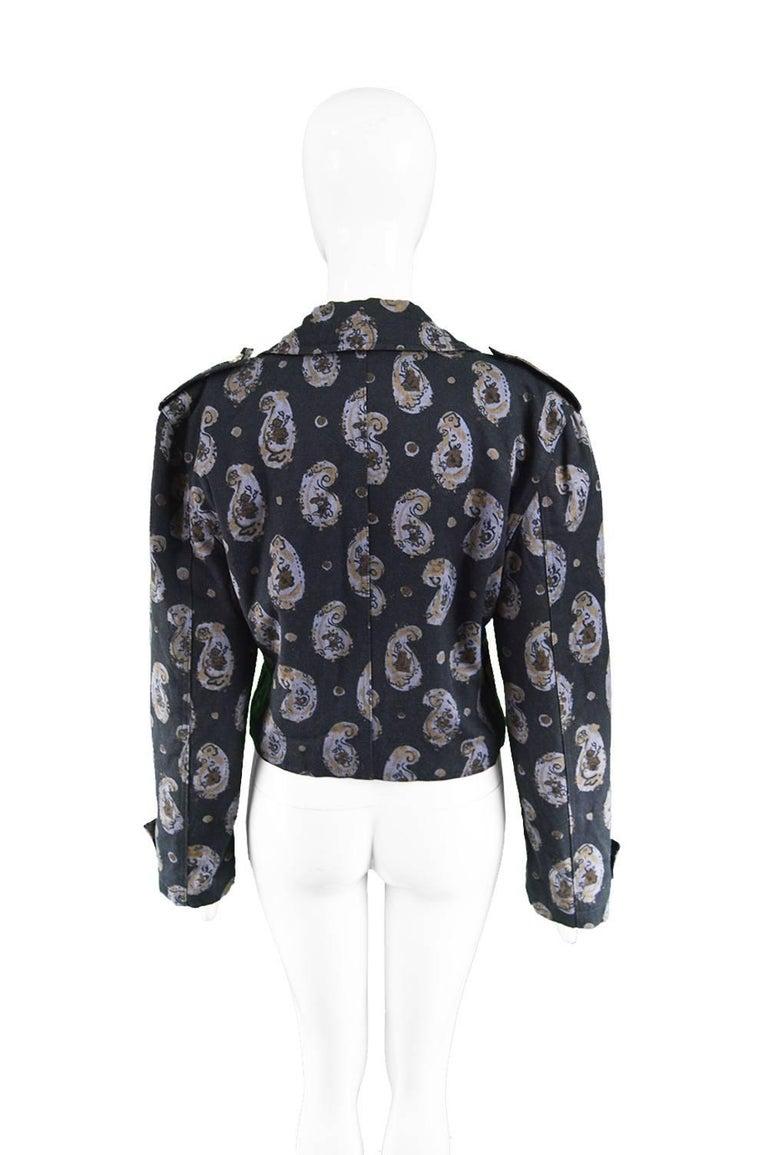 Krizia Vintage Paisley Printed Black Cotton Biker Jacket, 1990s  For Sale 2