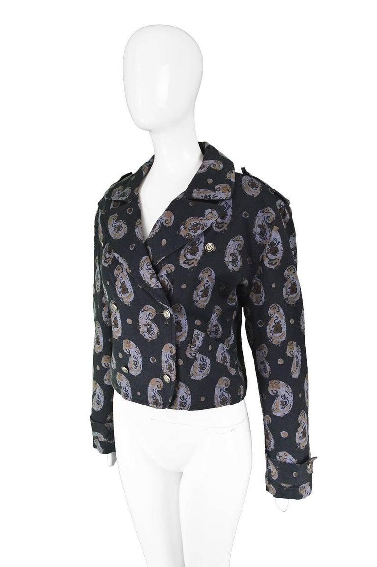 Krizia Vintage Paisley Printed Black Cotton Biker Jacket, 1990s  For Sale 1
