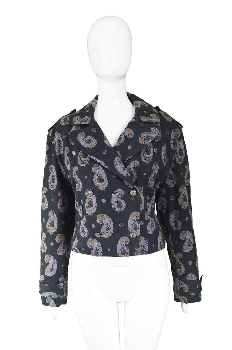 Krizia Vintage Paisley Printed Black Cotton Biker Jacket, 1990s  In Excellent Condition For Sale In Doncaster, South Yorkshire