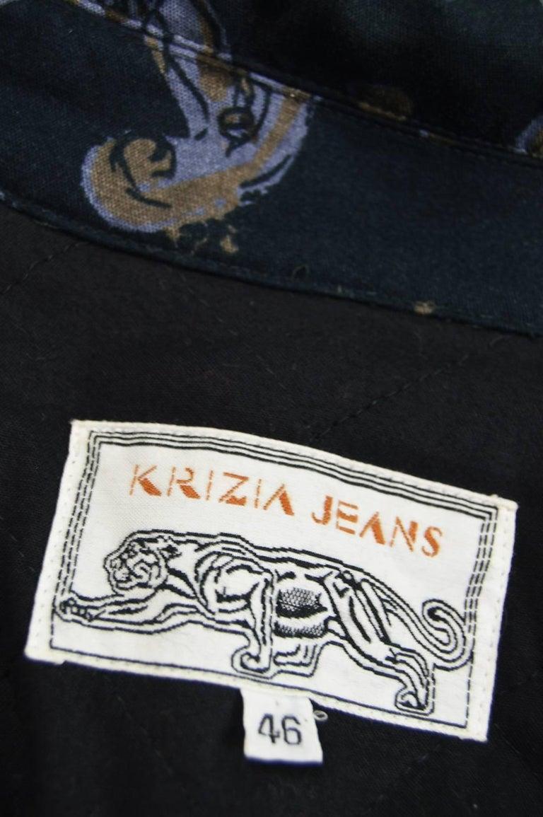 Krizia Vintage Paisley Printed Black Cotton Biker Jacket, 1990s  For Sale 3