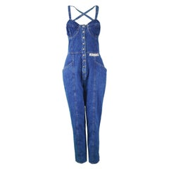 Krizia Jeans Vintage Blue Underwired Cross Back Denim Jumpsuit, 1990s