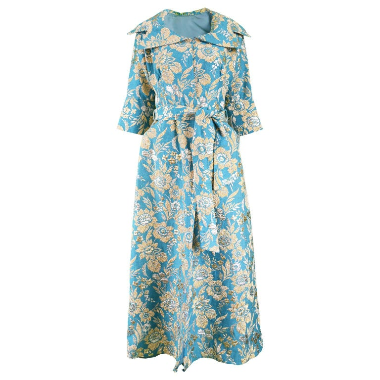 Vintage 1960s Turquoise & Gold Lurex Floral Brocade Maxi Evening Coat