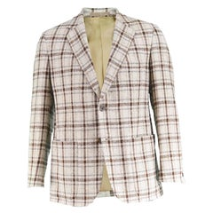 Aquascutum Men's Cream & Brown Plaid Checked Flecked Wool Blend Blazer, 1970s