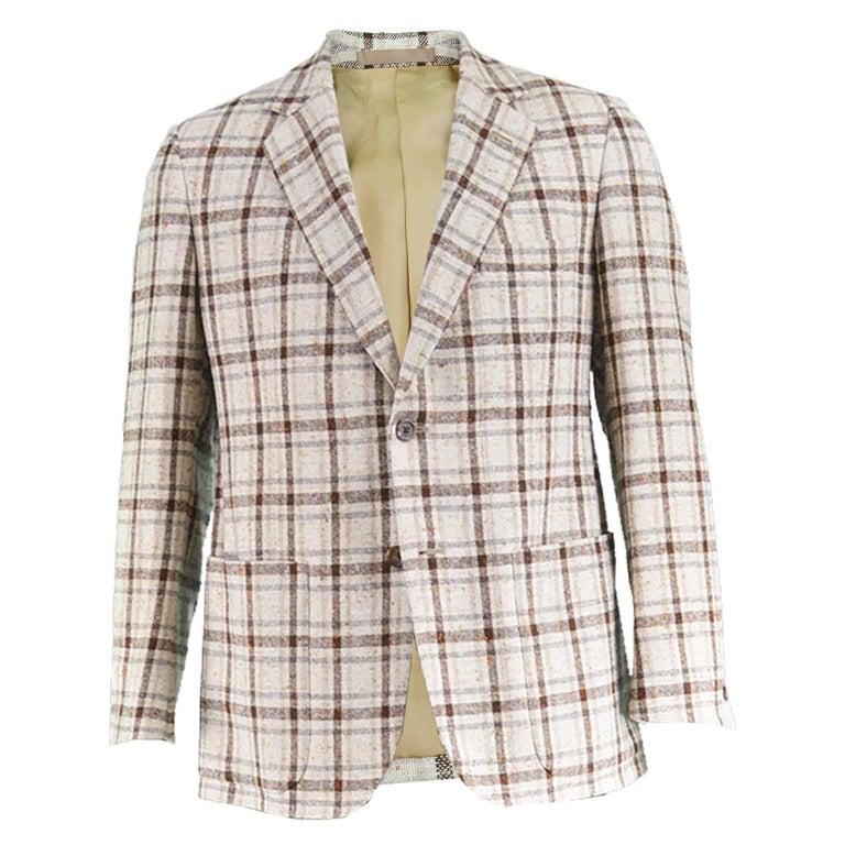 Aquascutum Men's Cream & Brown Plaid Checked Flecked Wool Blend Blazer, 1970s