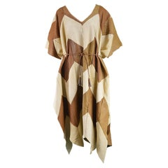 Cream and Brown Leather Patchwork Vintage Maxi Mexican Poncho Cape, 1970s