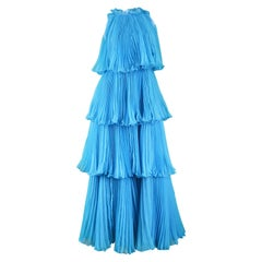 Jean Varon Documented Turquoise Blue Tiered Pleated Chiffon Evening Gown, 1973
