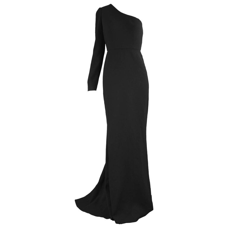 Calvin Klein Collection One Shoulder Black Wool Evening Gown For Sale