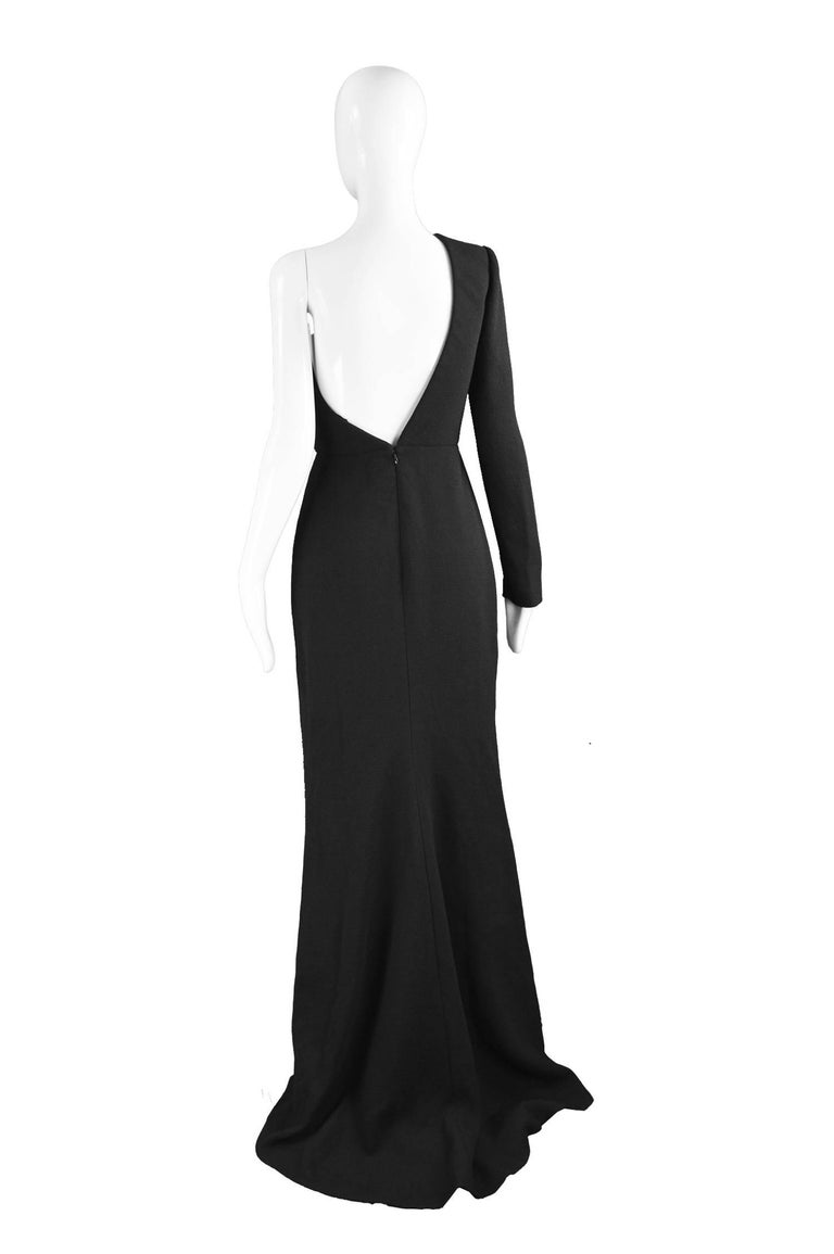Calvin Klein Collection One Shoulder Black Wool Evening Gown For Sale 5