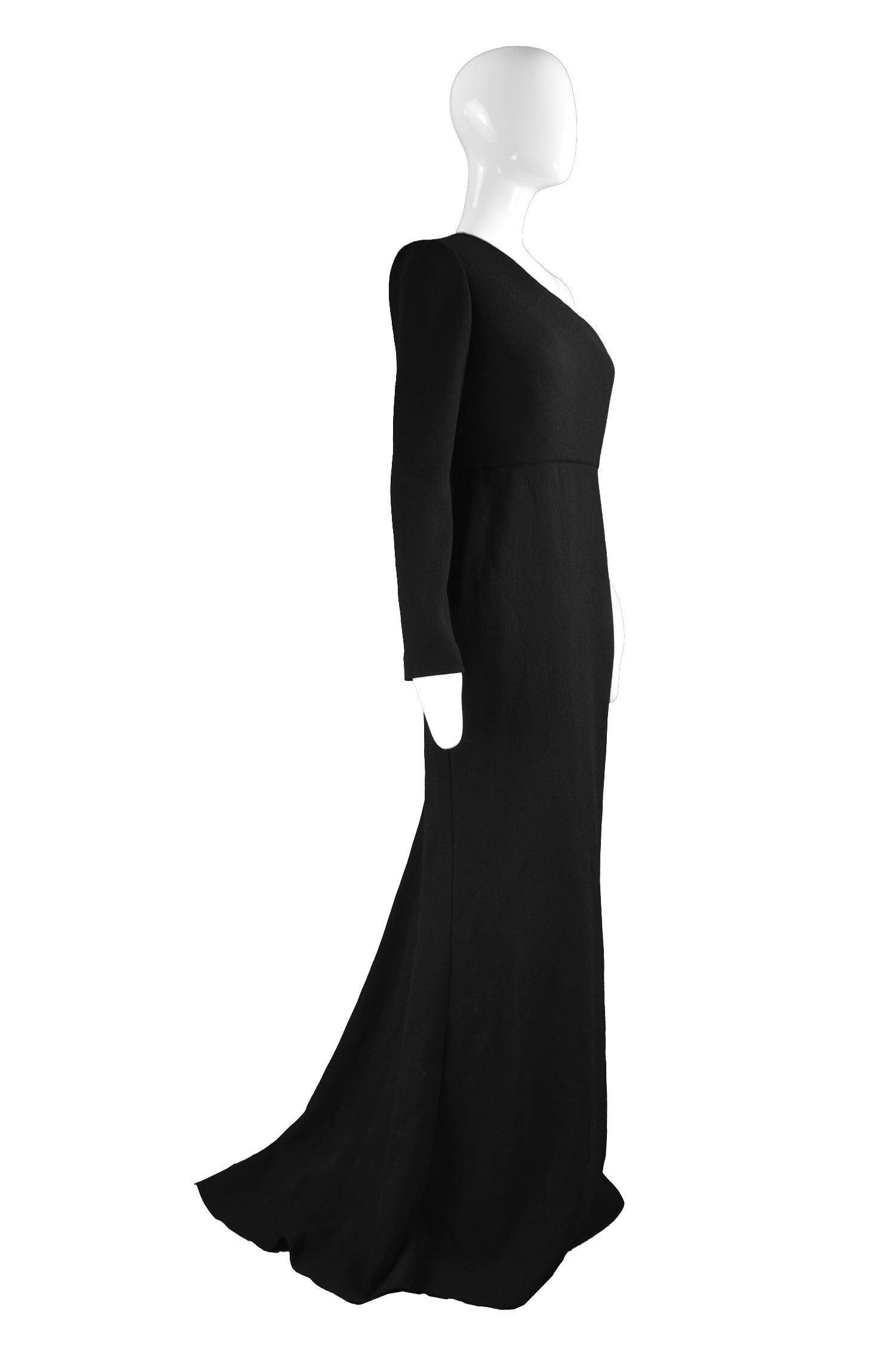 94167a526f91 Calvin Klein Collection One Shoulder Black Wool Evening Gown For Sale at  1stdibs