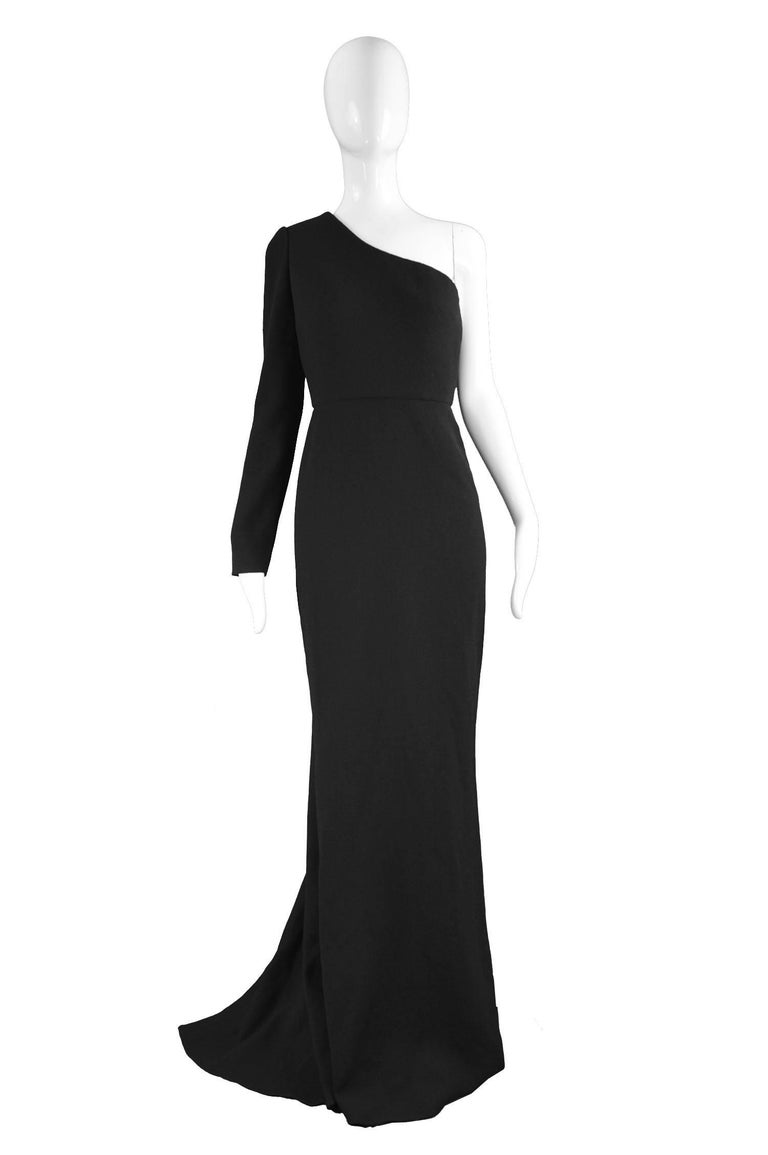 "Unworn Calvin Klein Collection One Shoulder Black Wool Evening Gown  Size: Marked US 4 / IT 40 but fits most like a UK 8-10/ US 4-6 / EU 38-40. Please check measurements Bust - 34"" / 86cm Waist - 26"" / 66cm Hips - up to 38"" / 96cm Length (Shoulder"